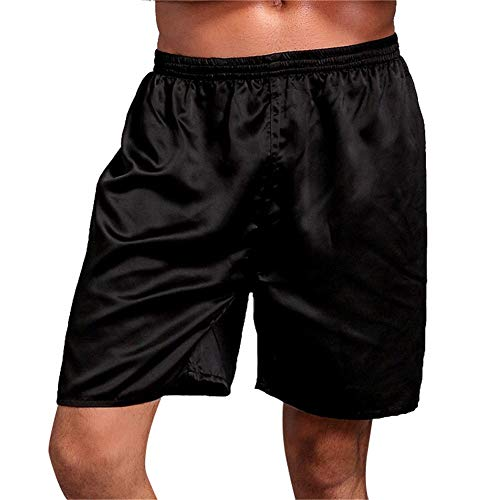 Bóxers para Hombre Calzoncillos Pantalones Cortos De Estar por Casa Ropa Interior Pijamas Satén Lencería