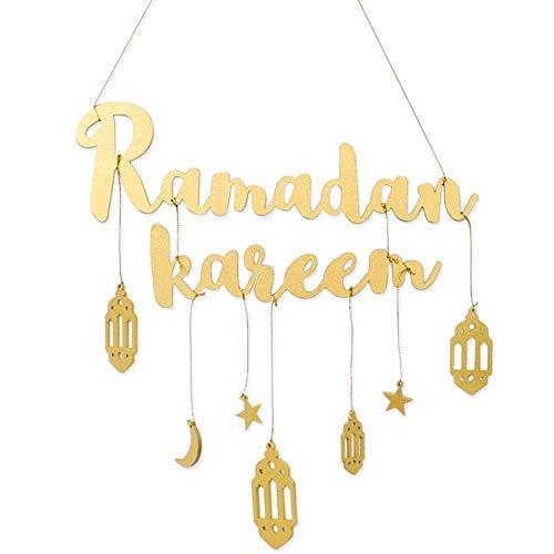 Eid Celebration Hanging Banner Happy Eid Bunting Garland Ramadan Kareem Letters Islam Muslim Party Banner Islamic Wall Hanging Ramadan Pendant Eid Mubarak Star Moon Wooden Decoration (Gold)