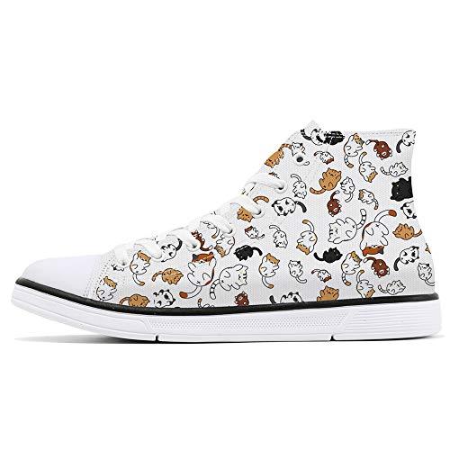 FIRST DANCE Schuhe für Frauen mit Tiermuster bedruckte Schuhe Hohe Tops Damen Niedliche Katzenschuhe für Frauen Frühlingsschuhe Katze Hund Druck Schuhe für Frauen US 8.5