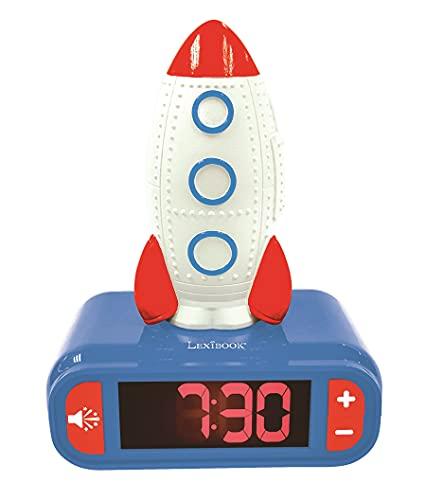 Lexibook RL800SPC Wecker Digitalwecker für Kinder mit Nachtlicht Snooze, Kinderuhr, leuchtendes Rakete, Blau
