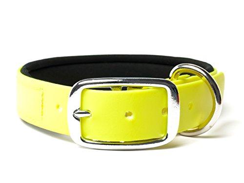 Mystique® Biothane Halsband Deluxe Neopren 25mm beta neon gelb 45-53cm