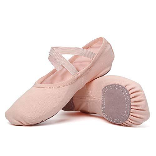 JUODVMP Zapatos de Ballet Zapatillas de Ballet de Danza Baile para Niña,Modelo TJBL,Rosado,28 EU