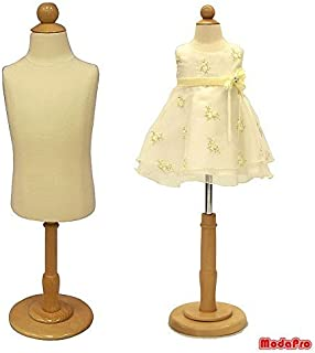1 Year Old Child/Kids Body Dress Form Mannequin White Jersey Form Cover with Wooden Base(C1T)