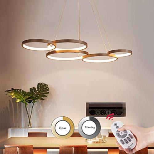 Moderne LED Pendelleuchte Dimmbar Mit Fernbedienung Hängeleuchte Pendellampe Höhenverstehbar Hängelampe Kronleuchter für Wohnzimmer Esszimmer Büro Schlafzimmer Decken Lampe 92 * 55cm 63W Five rings
