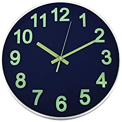 HENGDASI Wall Clock Night Light Function Sapphire Blue 12 Inch Silent Non Ticking Battery Operated Glass Cover Easy to Read Round Decorative for Kitchen Living Room Bedroom Office