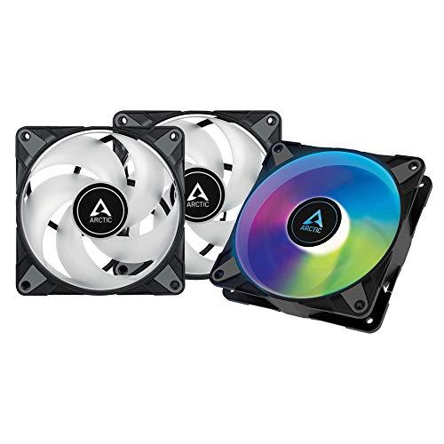 ARCTIC P12 PWM PST A-RGB 0dB (3 Stück, Value Pack) - 120 mm PWM Gehäuselüfter optimiert für statischen Druck, Case Fan, Semi-Passiv: 0-2000 U/min, 5V 3 Pin ARGB-LED - Schwarz