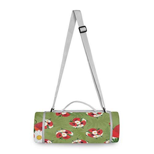 LORONA - Manta de doble capa, diseño de amapolas rojas, diseño floral, para jardín, textura de playa, redonda, a prueba de arena, bolsa de picnic, 2 en 1, función de viaje, resistente al agua para deportes al aire libre