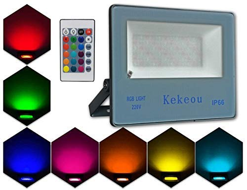 60W RGB LED Flood Lights with Remote Control, IP66 Waterproof Dimmable Color Changing Floodlight, 16 Colors 4 Modes Wall Washer Light, Indoor Outdoor Decorative Garden Landscape Lighting