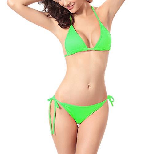 KPILP Sexy Bikini Maillots de Bain 2 Pièces Femme Printemps et été La Mode Les Loisirs Multicolore Nouveauté Petit Frais Couleur Unie Femme Maillots de Bain 2 Pièces S-XL (Vert,FR-38/CN-S)