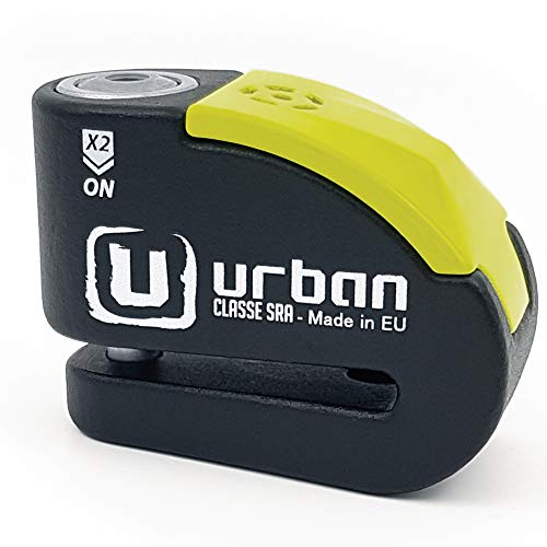 Urban Security UR10 candado antirrobo Disco con Alarma 120dba + Warning, Alta Seguridad Homologado CLASSE Sra, Eje 10 mm, Made in EU, Negro/Amarillo