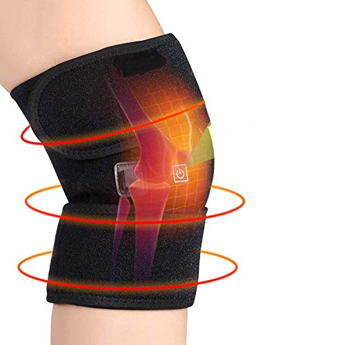 Heated Knee Pads for Arthritis, Heated Knee Massage Wrap Hot Therapy Compress to Warm Joint Relief Pain of Knee Stiff Arthritis Meniscus Strains Fits, With USB No Battery