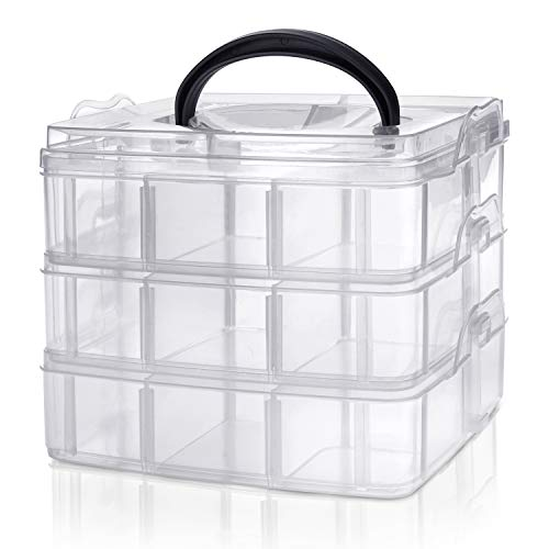 Kurtzy 3-stöckige Aufbewahrungsbox aus Plastik Transparent Stapelbar – Sortierkasten mit 18 Verstellbaren Fächern zur Aufbewahrung von Nähzubehör, Bügelperlen, Schmuck, Kleinteile, Bastelkiste