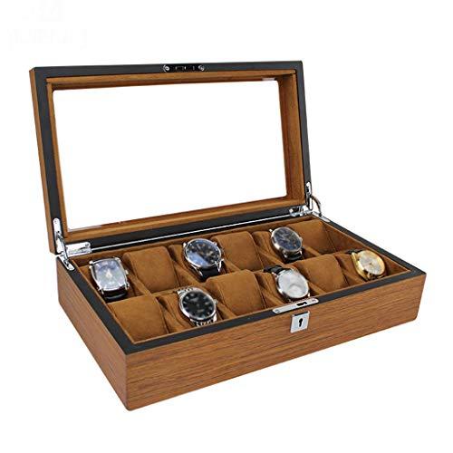 GQSHK GQSHK Uhrenbox Schmuckdisplay Aufbewahrungsboxen 12-Fach Uhrenkoffer aus Holz mit Glasplatte und abnehmbaren Aufbewahrungskissen für Herren/Damen - Braun