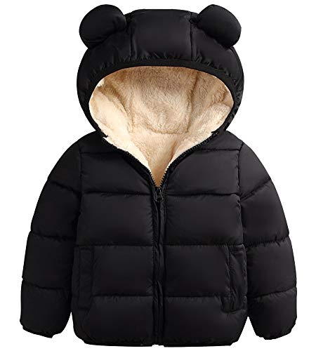 Baby Boys Girls Winter Hoodie Jacket, Packable Lighweight Hooded Puffer Padded Down Alternative Coat Outwear for Infants, Toddlers & Baby, 2# Black, 18-24 Months = Tag 90