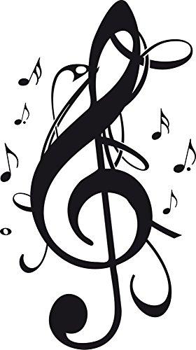 GRAZDesign Wanddekoration Wanddeko Violinenschlüssel - Musiker Geschenkideen Notenschlüssel Noten - Wandtattoo Musik Studio Schule / 54x30cm / 070 schwarz