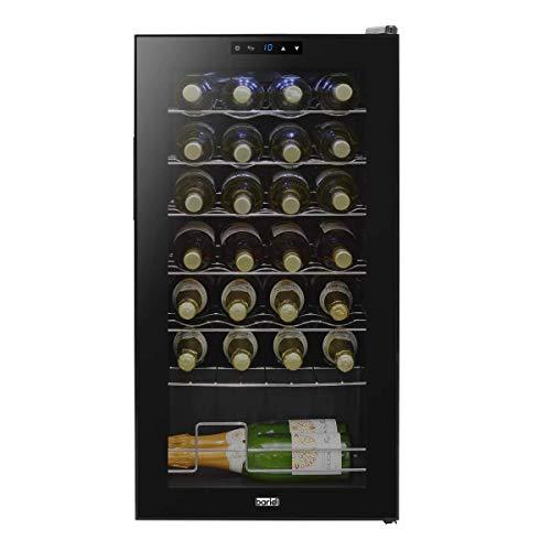 Baridi Wine Cooler/Fridge, Digital Touch Screen Controls, LED Light, 28 Bottle - Black