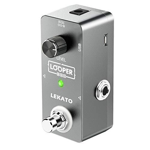 Guitar Looper, LEKATO Gitarreneffektpedal Elektrisches Looper-Pedal Unbegrenzte Overdubs 5 Minuten Looping-Zeit True Bypass mit USB-Kabel