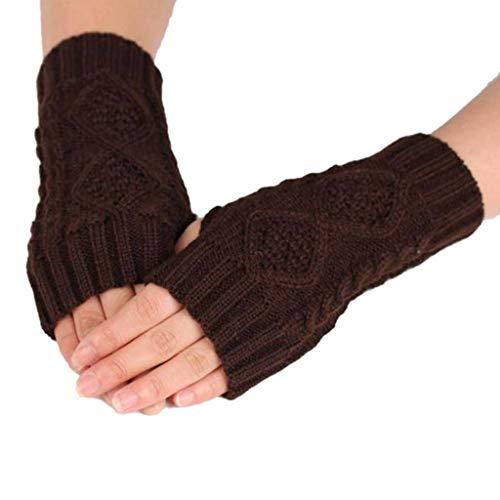 BHYDRY Mujeres Invierno Cálido Guantes sin Dedos Crochet Thumbhole Knit Muñequeras...