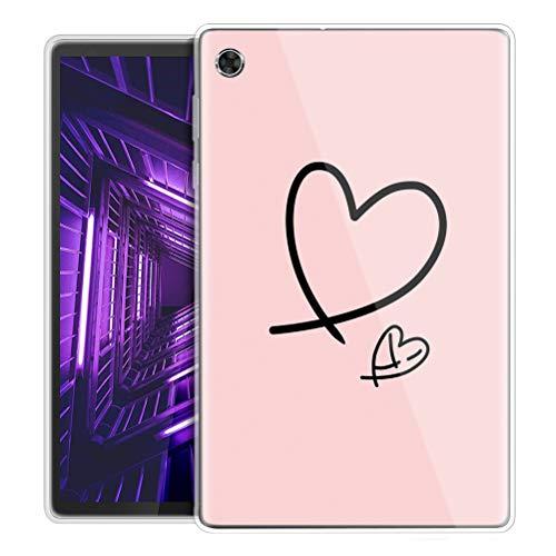 Yoedge Funda para Lenovo Tab M10 FHD Plus, Carcasa Silicona Gel TPU Transparente con Dibujos Diseño Smart Case Cover Antigolpes Piel de Protector Tableta para Lenovo M10 FHDPlus 10,3', Amor