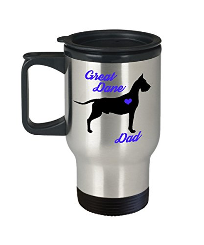 Great Dane Dad Travel Mug - Insulated Portable Coffee Cup With Handle And Lid For Dog Lovers - Perfect Christmas Gift Idea For Men - Novelty Animal Lover Quote Statement Accessories