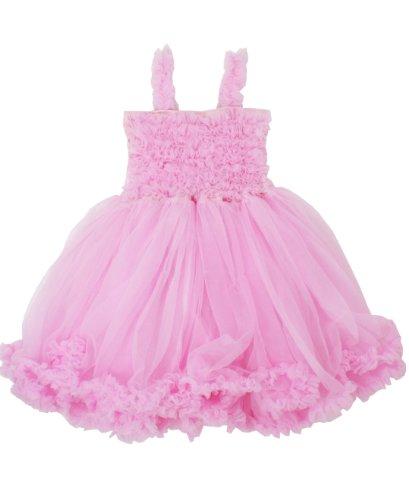 RuffleButts Girls Toddler Chiffon Pink Princess Petti Dress - 2T/3T