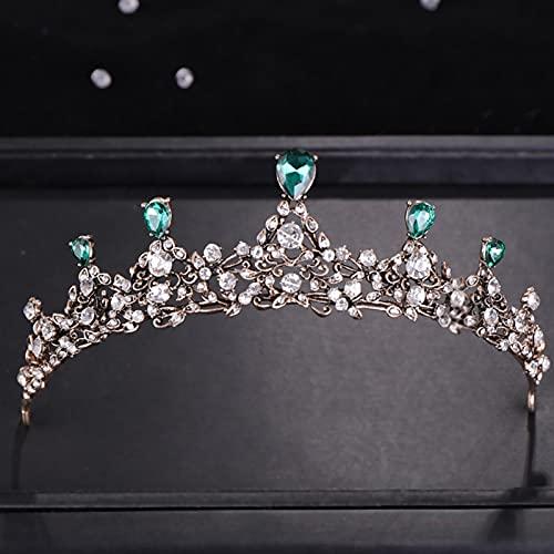 YAOLUU Tiara de la Boda de la Novia Vintage Rhinestone Green Crystal Crown Crown Tocado de la Boda Accesorios de Cabello Nupcial Joyería Princesa Corona Accesorios para el Cabello de Boda