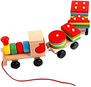 Wooden Toys Stacking Train Blocks, Pull Toy Promotes Baby Development. Educational Toys for Toddlers with 20 Wooden Shapes...