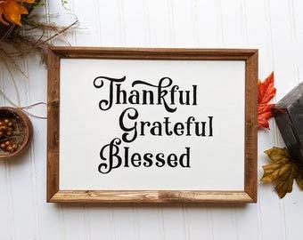 Free Brand Letrero de madera moderno con texto en inglés «Thank ful Grateful Bless» con texto en inglés «Fall Wood Signsing», signo cristiano de madera, signo inspirador, signo de madera personalizado
