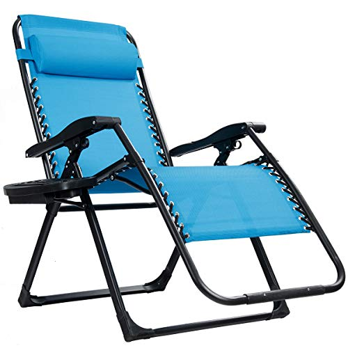 Goplus Zero Gravity Chair, Lounge Chair with Cup Holder, Breathable Fabric, Detachable Headrest & Replaceable Elastic Cords, Heavy Duty XL Folding Chaise for Pool, Patio, Beach, Yard (Blue)
