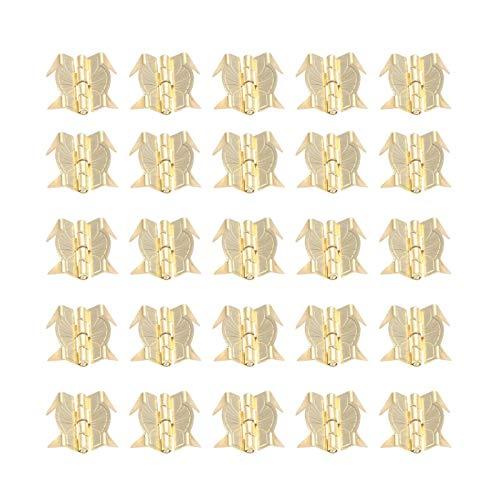 Pequeño perno decorativo retro 50 unids puerta de metal amarillo puerta de equipaje bisagras vintage estilo viejo regalo joyería caja de bisagra para hardware de muebles 22 * 19 mm