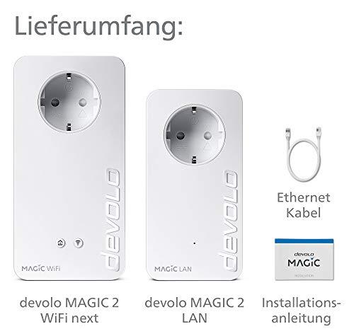 devolo Magic 2 – 2400 WiFi ac next Starter Kit: Weltweit schnellstes Powerline-Adapter-Set mit bester Mesh-WLAN-ac-Funktion, ideal für Streaming (2400 Mbit/s, 2x Gigabit LAN-Anschlüsse, G.hn)
