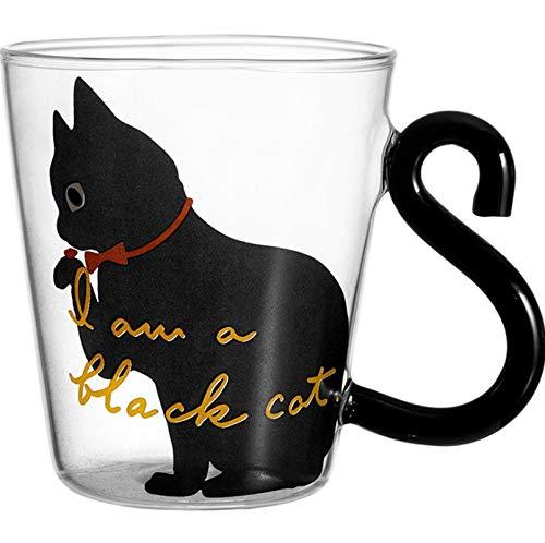 Tazza di acqua di vetro del gattino sveglio, tazza della maniglia della coda del gatto tazza di latte caffè tazza di succo di frutta bicchieri articoli per la casa amanti della tazza di casa ufficio