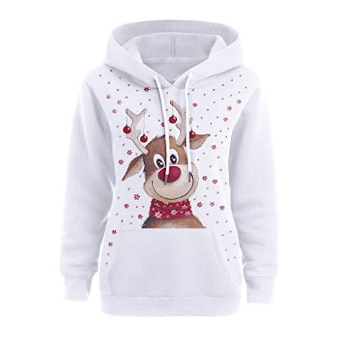 Lemooner Damen Weihnachtspullover Mit Kapuze Weihnachtsmütze-Druck Sweatshirt Mit Kapuze Hoodie Weihnachtspulli Bluse Oberteile Shirt Für Weihnachten Weihnachtsmode (S, 02Weiß)