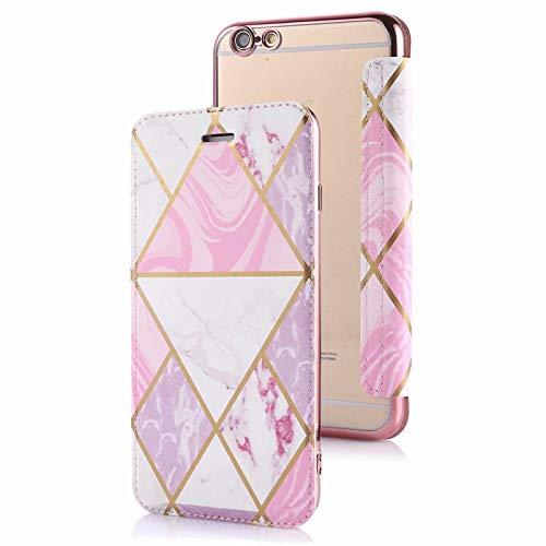 TYWZ Brieftasche Hülle für iPhone 6/6S,Marmor Muster Slim PU Leder Flip Case Kartenfach Durchsichtig Weich TPU Back Überzug Schutzhülle-Rosa Weiß