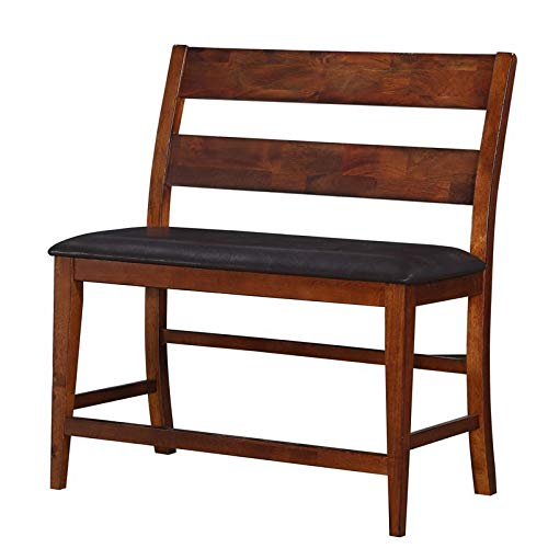Pemberly Row Faux Leather Gathering Height Bench in Brown