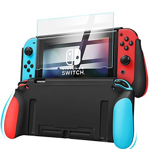 LEHOO Cover Protector Compatible for Switch, Grip Cover in Silicone & TPU, Shock-Absorption and Anti-Scratch Dockable Case with HD Screen Protector (Red & Blue)