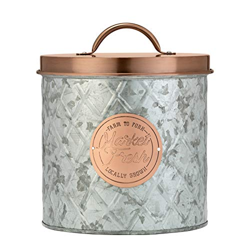 Amici Home Bristol Storage Canister Metal Can 104 Fluid Ounces Galvanized and Copper