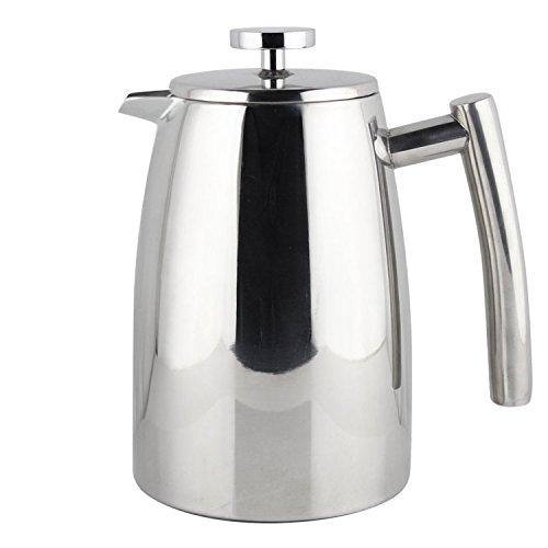 Kaffeebereiter elegantes Design aus poliertem, spiegelnden Edelstahl, doppelwandig isoliert, mit Ersatz-Sieb, 1l