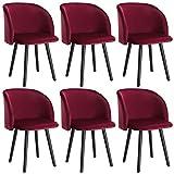 WOLTU 6X Sillas de Comedor Nordicas Estilo Vintage Dining Chairs Juego de 6 Sillas de Cocina Sillas Tapizadas en Terciopelo Silla de Conferencia Silla de Escritorio Burdeos BH121bd-6