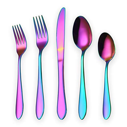 Titanium Colorful Plated Stainless Steel Flatware Set 20 Piece, Colorful Flatware Set, Rainbow Silverware Set Service for 4 (Shiny Colorful)