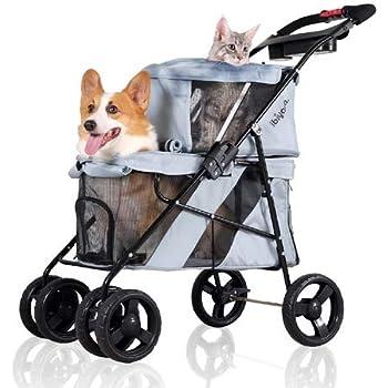 carriola doble de 4 ruedas para perros y gatos, ideal para viajes de mascotas dobles o múltiples (gris plateado)