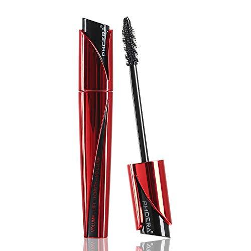 PHOERA Waterproof 3D Fiber Lash Black Mascara, 9D Curling Eye Makeup Lengthen & Volumize Eyelashes | Cruelty Free