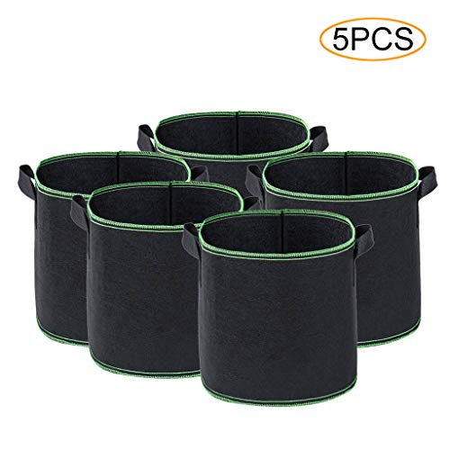 Emptystar Pot Holders - 5PC Round Fabric Pots Plant Pouch Root Container Grow Bag Aeration Pot Container Black Fabric Grow Pots Breathable Bag with Handles for Garden Patio