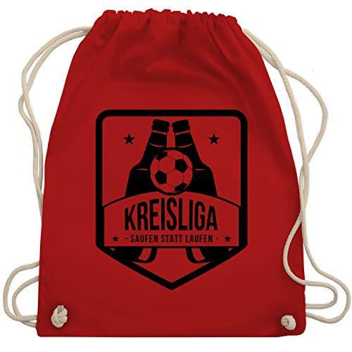 Shirtracer Fußball - Kreisliga - Saufen statt laufen - Unisize - Rot - turnbeutel kreisliga - WM110 - Turnbeutel und Stoffbeutel aus Baumwolle