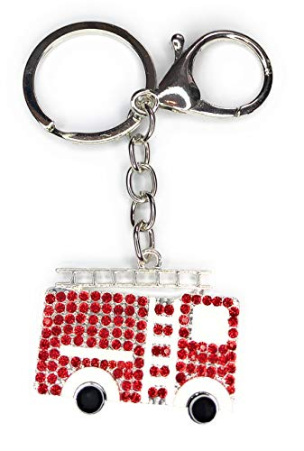 FizzyButton Gifts fire engine handbag charm keyring key ring with enamel and rhinestone detail and lobster clasp