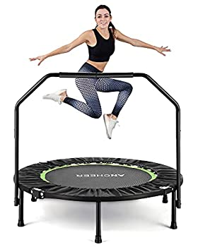 40 Exercise Trampoline ANCHEER Mini Foldable Trampoline Rebounder Adjustable Fitness Trampoline with Handle for Adults Kids Indoor/Garden/Workout Cardio Max Load 300lbs Green