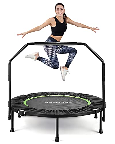 40' Exercise Trampoline, ANCHEER Mini Foldable Trampoline Rebounder, Adjustable Fitness Trampoline with Handle for Adults Kids, Indoor/Garden/Workout Cardio, Max Load 300lbs (Green)