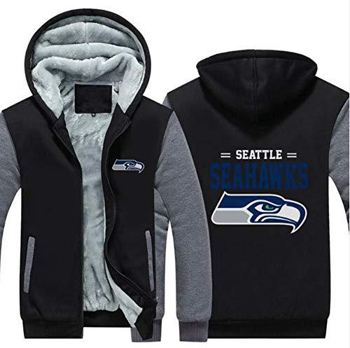 LLforever NFL Jerseyhoodie Seattle Seahawks, Plus Samt-Rugby-Hemd-Langärmlige T-Shirt-Druck Hemd Mit Kapuze Beiläufige Bequeme Thick Pullover,B,M