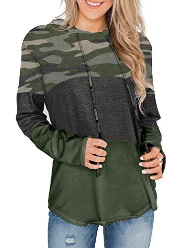 Lovezesent Womens Casual Loose Long Sleeve Camo Sweatshirts Top Lightweight Pullover Hoodie Large