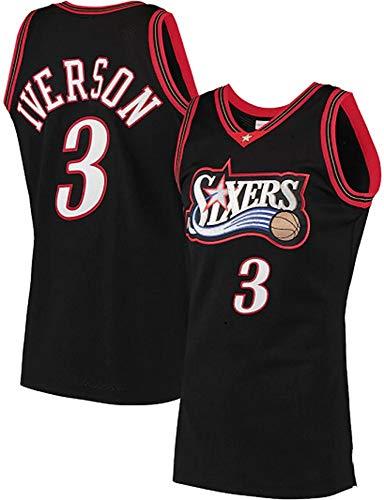 WSUN Maglia da Basket NBA da Uomo, Philadelphia 76Ers 3# Allen Iverson NBA Basketball Jersey, Basketball Fan Jersey NBA Cool And Light Swingman T-Shirt,B,M(170~175CM/65~75KG)